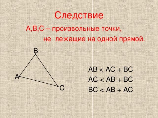Следствие А,В,С – произвольные точки,  не лежащие на одной прямой.  АВ  АС  ВС В А С
