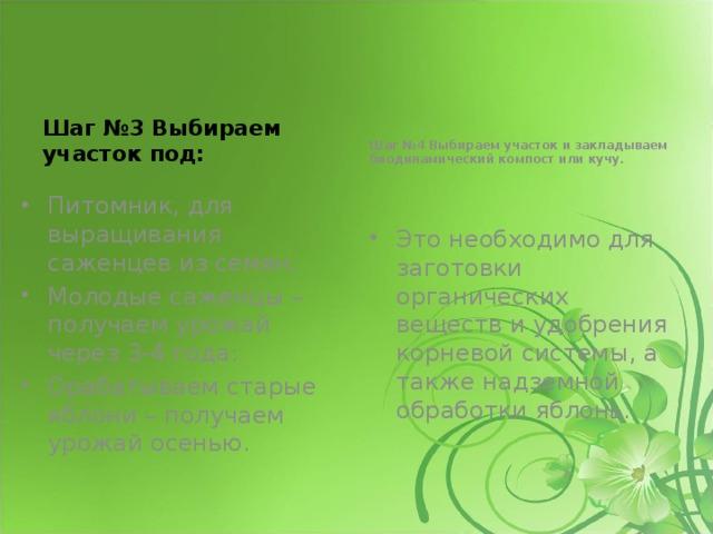 Шаг №3 Выбираем участок под: Шаг №4 Выбираем участок и закладываем биодинамический компост или кучу.