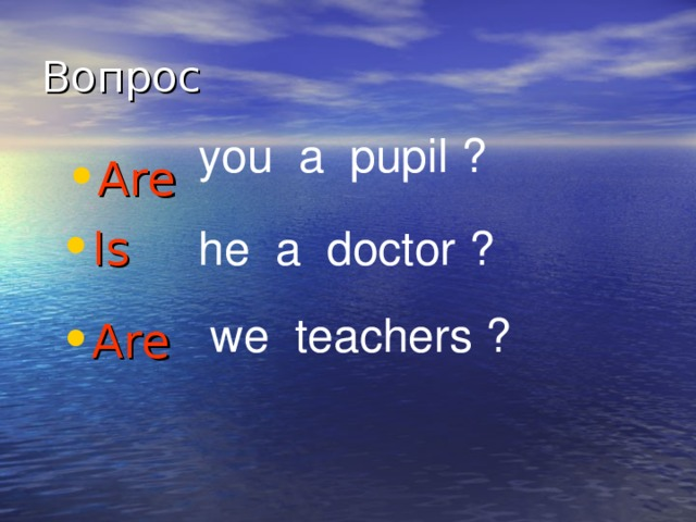 you a pupil ? Are Is he a doctor ? we teachers ?