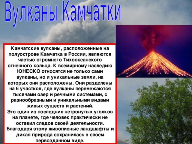 Камчатские вулканы, расположенные на полуострове Камчатка в России, являются частью огромного Тихоокеанского огненного кольца. К всемирному наследию ЮНЕСКО относятся не только сами вулканы, но и уникальные земли, на которых они расположены. Они разделены на 6 участков, где вулканы перемежаются тысячами озер и речными системами, с разнообразными и уникальными видами живых существ и растений. Это один из последних нетронутых уголков на планете, где человек практически не оставил следов своей деятельности. Благодаря этому живописные ландшафты и дикая природа сохранилась в своем первозданном виде.