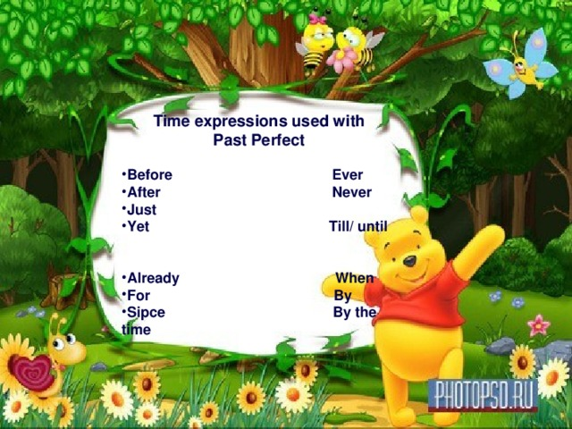 Time expressions used with Past Perfect