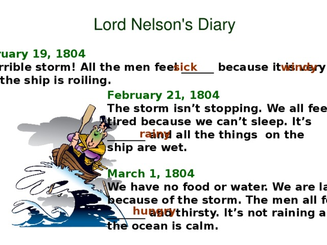 Lord Nelson's Diary February 19, 1804 A terrible storm! All the men feel ______ because it is very _______ and the ship is roiling. sick windy February 21, 1804 The storm isn't stopping. We all feel tired because we can't sleep. It's _______ and all the things on the ship are wet.  March 1, 1804 We have no food or water. We are late because of the storm. The men all feel _______ and thirsty. It's not raining and the ocean is calm. rainy hungry