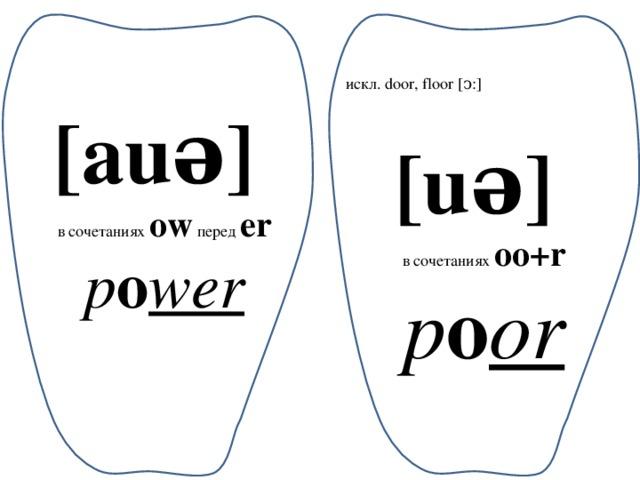 искл. door, floor [ͻ:] [auə] в сочетаниях ow перед er p o wer [uə] в сочетаниях oo+r p o or