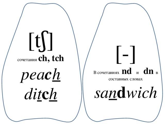 [tʃ] сочетания ch, tch pea c h di t c h [-] В сочетаниях nd  и  dn  в составных словах sa n d wich