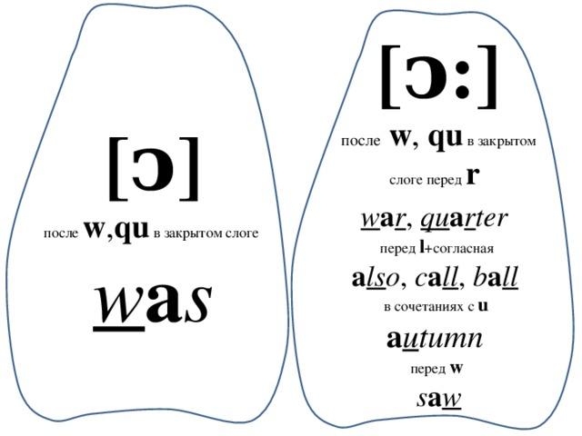 [ͻ:] после  w , qu в закрытом слоге перед r w a r , qu a r ter  перед l +согласная a ls o , с a ll , b a ll  в сочетаниях с u a u tumn перед w  s a w [ͻ] после w , qu в закрытом слоге w a s