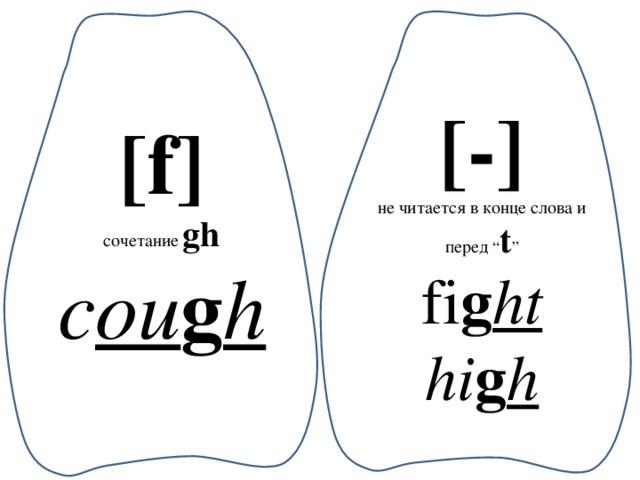 """[-] не читается в конце слова и перед """" t """" fi g ht hi g h [f] сочетание  gh c ou g h"""