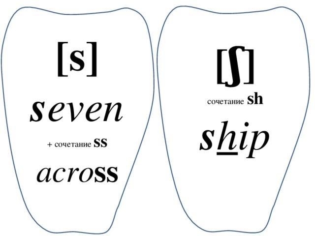 [s] s even + сочетание ss acro ss [ʃ] сочетание  sh s h ip