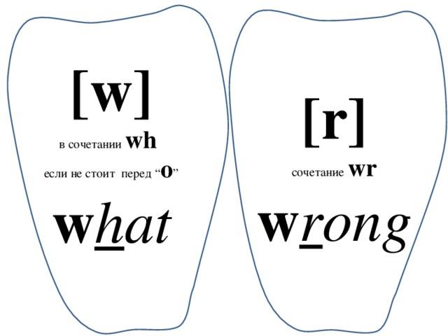 "[w] в сочетании wh если не стоит перед "" o "" w h at [r] сочетание  wr w r ong"