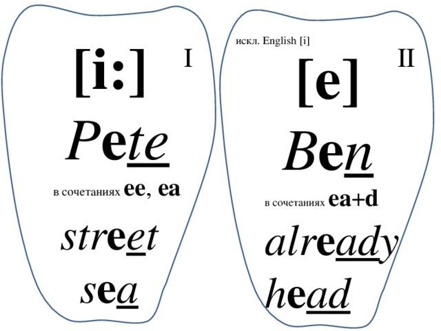 [i:]  P e te в сочетаниях ee , ea искл. English [i] [e] I II B e n в сочетаниях ea + d alr e ad y h e ad str e e t s e a