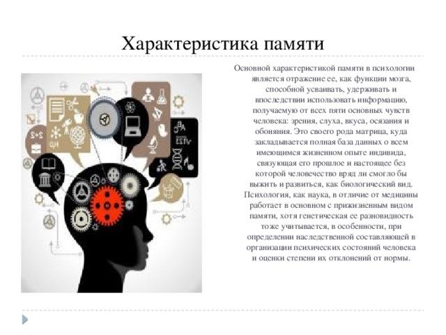 Характеристика памяти Основной характеристикой памяти в психологии является отражение ее, как функции мозга, способной усваивать, удерживать и впоследствии использовать информацию, получаемую от всех пяти основных чувств человека: зрения, слуха, вкуса, осязания и обоняния. Это своего рода матрица, куда закладывается полная база данных о всем имеющимся жизненном опыте индивида, связующая его прошлое и настоящее без которой человечество вряд ли смогло бы выжить и развиться, как биологический вид. Психология, как наука, в отличие от медицины работает в основном с прижизненным видом памяти, хотя генетическая ее разновидность тоже учитывается, в особенности, при определении наследственной составляющей в организации психических состояний человека и оценки степени их отклонений от нормы.