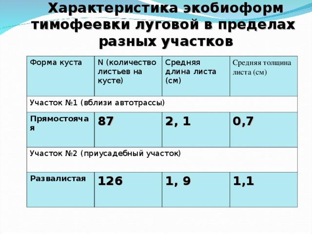Характеристика экобиоформ тимофеевки луговой в пределах разных участков Форма куста N ( количество листьев на кусте) Участок №1 (вблизи автотрассы) Средняя длина листа (см) Прямостоячая Средняя толщина листа (см) 87 Участок №2 (приусадебный участок) 2, 1 Развалистая 0,7 126 1, 9 1,1