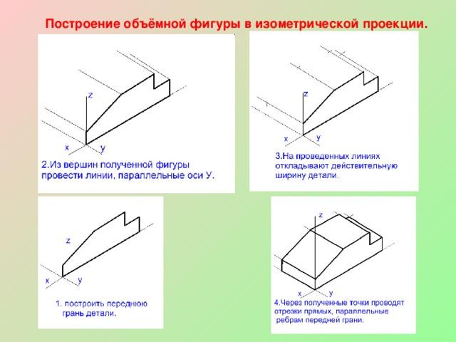 Построение объёмной фигуры в изометрической проекции.