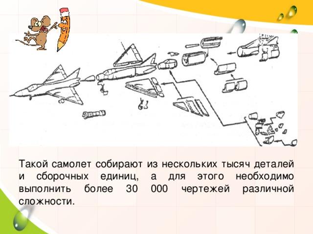 Такой самолет собирают из нескольких тысяч деталей и сборочных единиц, а для этого необходимо выполнить более 30 000 чертежей различной сложности.