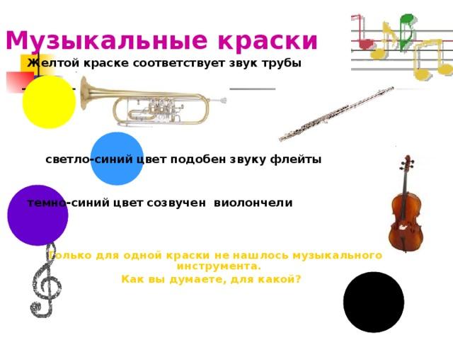 Музыкальные краски  Желтой краске соответствует звук трубы      светло-синий цвет подобен звуку флейты  темно-синий цвет созвучен виолончели Только для одной краски не нашлось музыкального инструмента. Как вы думаете, для какой?