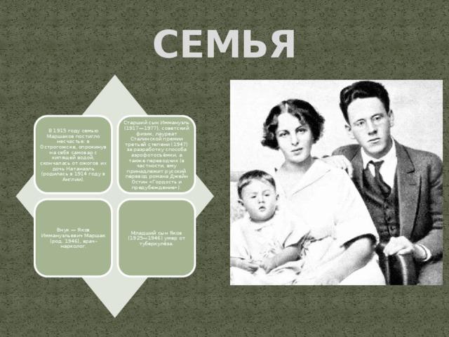 СЕМЬЯ В 1915 году семью Маршаков постигло несчастье: в Острогожске, опрокинув на себя самовар с кипящей водой, скончалась от ожогов их дочь Натанаэль (родилась в 1914 году в Англии). Старший сын Иммануэль (1917—1977), советский физик, лауреат Сталинской премии третьей степени (1947) за разработку способа аэрофотосъёмки, а также переводчик (в частности, ему принадлежит русский перевод романа Джейн Остин «Гордость и предубеждение»). Внук — Яков Иммануэльевич Маршак (род. 1946), врач-нарколог. Младший сын Яков (1925—1946) умер от туберкулёза.