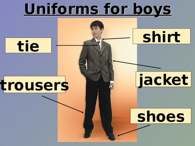 Uniforms for boys shirt tie jacket trousers shoes