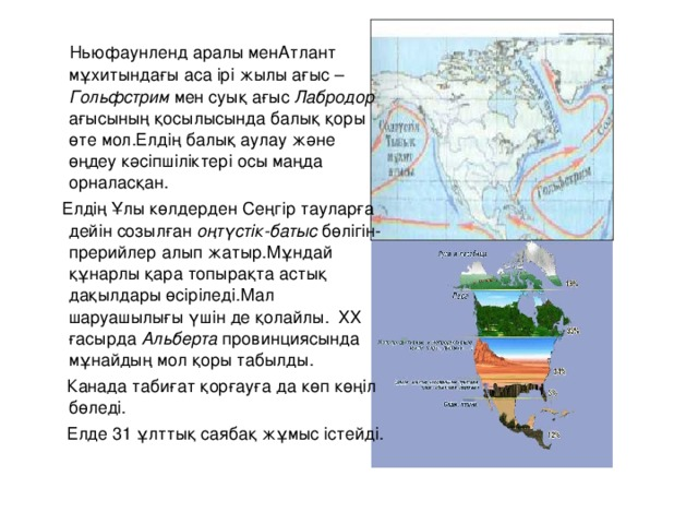 Ньюфаунленд аралы менАтлант мұхитындағы аса ірі жылы ағыс – Гольфстрим мен суық ағыс Лабродор ағысының қосылысында балық қоры өте мол.Елдің балық аулау және өңдеу кәсіпшіліктері осы маңда орналасқан.  Елдің Ұлы көлдерден Сеңгір тауларға дейін созылған оңтүстік-батыс бөлігін- прерийлер алып жатыр.Мұндай құнарлы қара топырақта астық дақылдары өсіріледі.Мал шаруашылығы үшін де қолайлы. ХХ ғасырда Альберта провинциясында мұнайдың мол қоры табылды.  Канада табиғат қорғауға да көп көңіл бөледі.  Елде 31 ұлттық саябақ жұмыс істейді.