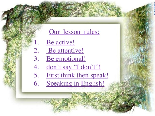 Our lesson rules: