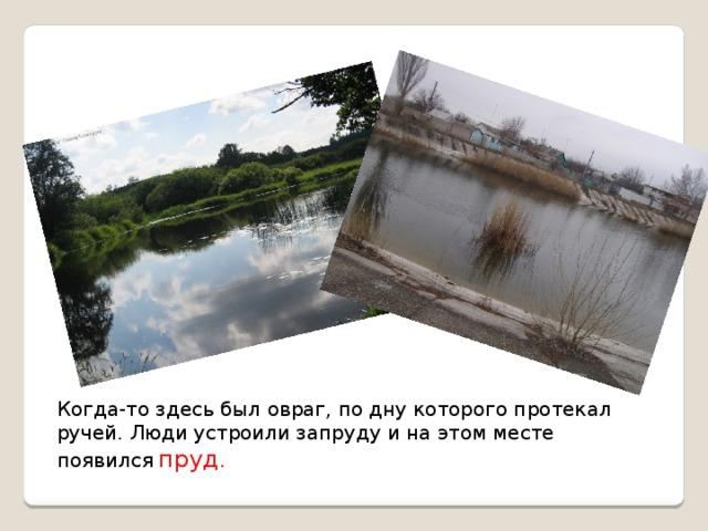 Когда-то здесь был овраг, по дну которого протекал ручей. Люди устроили запруду и на этом месте появился  пруд .