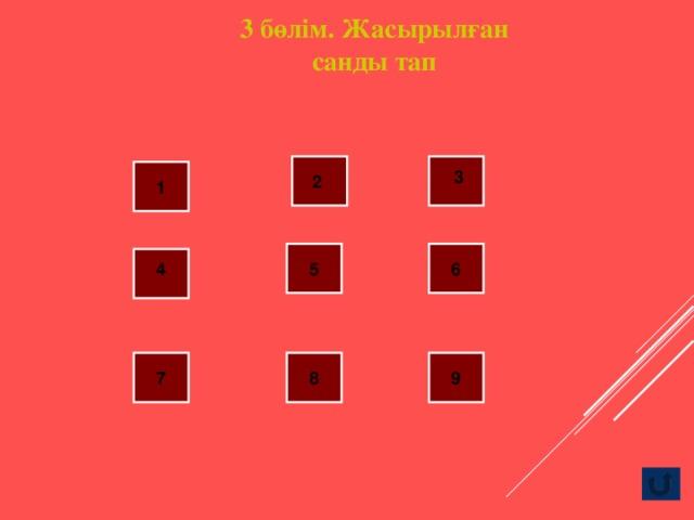 3 бөлім. Жасырылған санды тап 3 2 1 4 5 6 7 8 9