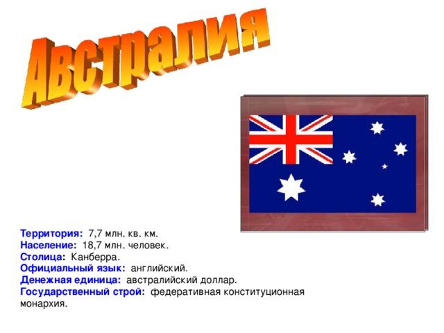 Территория: 7,7 млн. кв. км. Население: 18,7 млн. человек. Столица : Канберра. Официальный язык: английский. Денежная единица: австралийский доллар. Государственный строй: федеративная конституционная монархия.