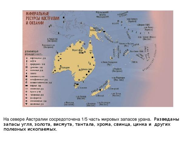 На севере Австралии сосредоточена 1/5 часть мировых запасов урана. Разведаны запасы угля, золота, висмута, тантала, хрома, свинца, цинка и других полезных ископаемых.