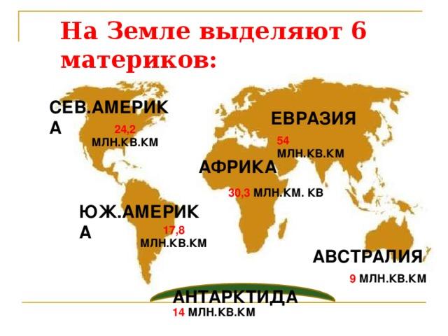 На Земле выделяют 6 материков: СЕВ.АМЕРИКА ЕВРАЗИЯ 24,2 МЛН.КВ.КМ  54 МЛН.КВ.КМ АФРИКА 30,3 МЛН.КМ. КВ ЮЖ.АМЕРИКА 17,8 МЛН.КВ.КМ  АВСТРАЛИЯ 9 МЛН.КВ.КМ  АНТАРКТИДА 14 МЛН.КВ.КМ