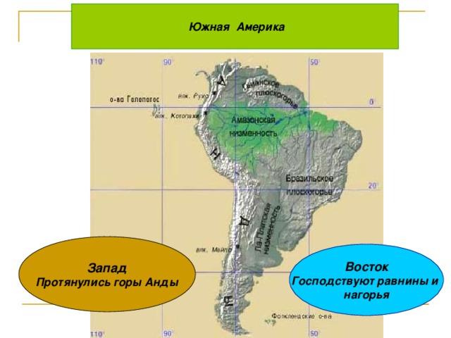 Южная Америка Запад Протянулись горы Анды Восток Господствуют равнины и нагорья