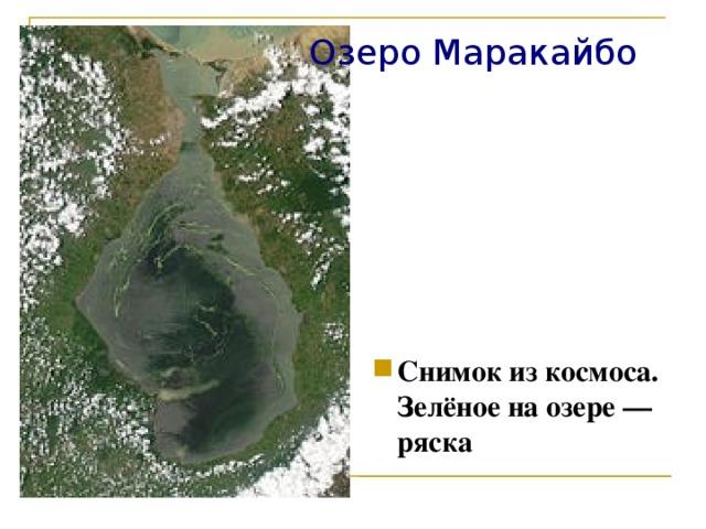Озеро Маракайбо Снимок из космоса. Зелёное на озере— ряска