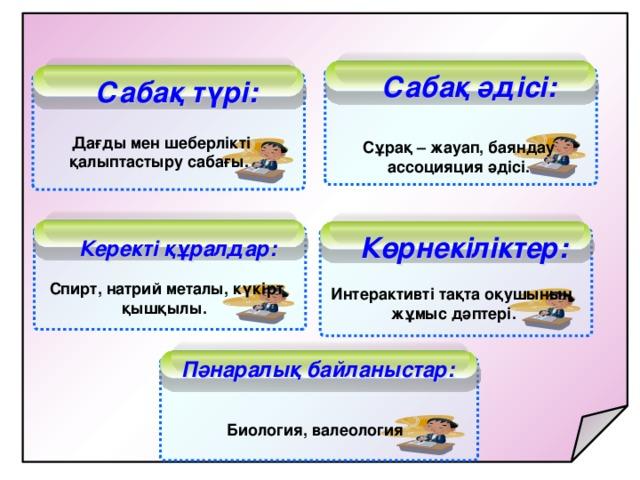 Сабақ әдісі:  Сабақ түрі: Дағды мен шеберлікті қалыптастыру сабағы.  Сұрақ – жауап, баяндау ассоцияция әдісі.  Керекті құралдар:  Көрнекіліктер: Спирт, натрий металы, күкірт қышқылы.  Интерактивті тақта оқушының жұмыс дәптері. Пәнаралық байланыстар: Биология, валеология