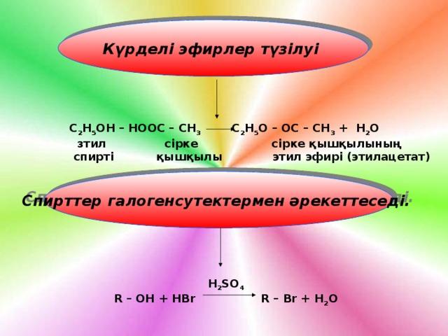 Күрделі эфирлер түзілуі   C 2 H 5 OH – HООС – СН 3 C 2 H 5 О – ОС – СН 3 + H 2 О  зтил сірке сірке қышқылының  спирті қышқылы этил эфирі (этилацетат) Спирттер галогенсутектермен әрекеттеседі.  H 2 SO 4 R – OH + HBr R – Br + H 2 O