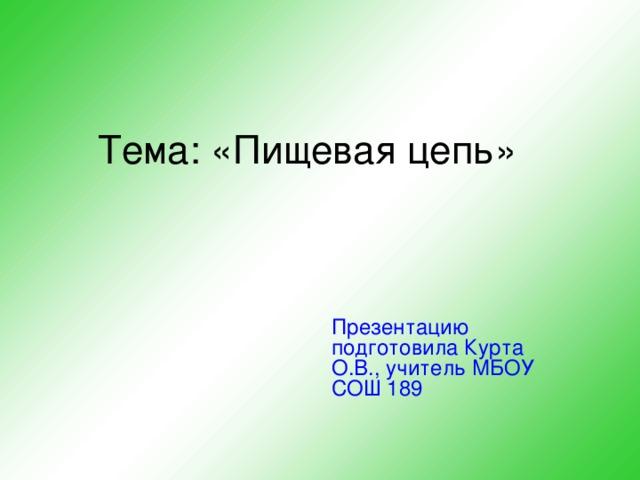 Тема: «Пищевая цепь» Презентацию подготовила Курта О.В., учитель МБОУ СОШ 189