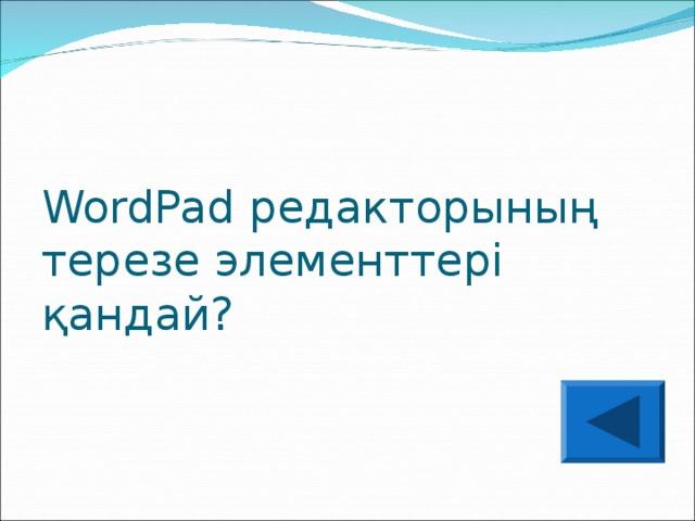 WordPad редакторының терезе элементтері қандай?