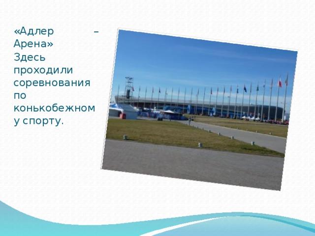 «Адлер – Арена» Здесь проходили соревнования по конькобежному спорту.