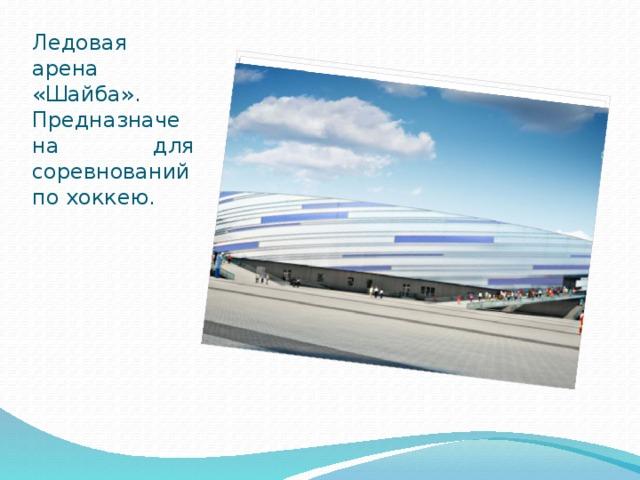 Ледовая арена «Шайба». Предназначена для соревнований по хоккею.
