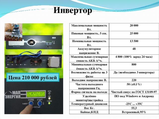 Инвертор Максимальная мощность Вт. 20 000 Пиковая мощность, 5 сек. Вт. 25 000 Номинальная мощность Вт. 13 500 Аккумуляторное напряжение В. 48 Максимальная суммарная емкость АКБ А*ч. 4 800 (100% заряд 24 часа) Минимальная суммарная ёмкость АКБ А*ч. 800 Возможность работы на 3 фазы Да (необходимо 3 инвертора) Выходное напряжение В. 220 Частота выходного напряжения Гц. 50 (±0.1%) Форма сигнала на выходе Чистый синус по ГОСТ 13109-97 Удалённо монитор\настройка ПО под Windows и Андроид Температурный диапазон -25С ... +35С Вес Кг. 55,3 Байпас,КПД Встроенный,95% Цена 210 000 рублей