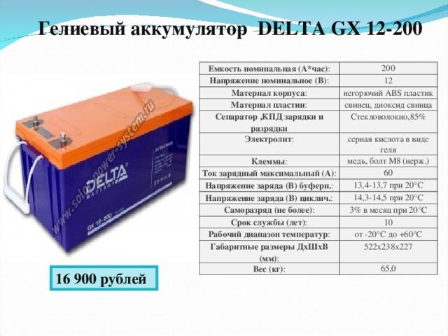 Гелиевый аккумулятор DELTA GX 12-200  Емкость номинальная (А*час) : 200 Напряжение номинальное (В) : 12 Материал корпуса : негорючий ABS пластик Материал пластин : свинец, диоксид свинца Сепаратор ,КПД зарядки и разрядки Стекловолокно,85% Электролит : Клеммы : серная кислота в виде геля Ток зарядный максимальный (А) : медь, болт М8 (нерж.) 60 Напряжение заряда (В) буферн. : 13,4-13,7 при 20°С Напряжение заряда (В) циклич. : Саморазряд (не более) : 14,3-14,5 при 20°С Срок службы (лет) : 3% в месяц при 20°С 10 Рабочий диапазон температур : от -20°С до +60°С Габаритные размеры ДхШхВ (мм) : 522х238х227 Вес (кг) : 65,0 16 900 рублей