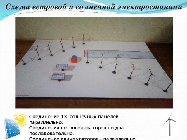 Схема ветровой и солнечной электростанции Соединение 13 солнечных панелей - параллельно. Соединения ветрогенераторов по два - последовательно. Соединение аккумуляторов - параллельно.