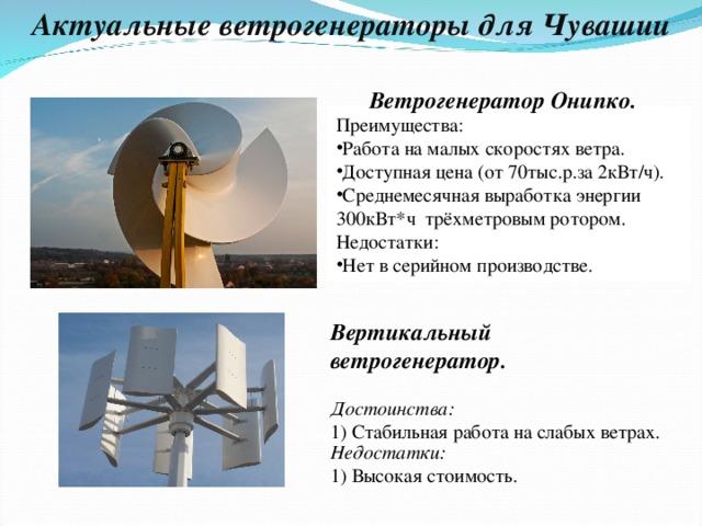 Актуальные ветрогенераторы для Чувашии Ветрогенератор Онипко. Преимущества: Работа на малых скоростях ветра. Доступная цена (от 70тыс.р.за 2кВт/ч). Среднемесячная выработка энергии 300кВт*ч трёхметровым ротором. Недостатки: Нет в серийном производстве. Вертикальный ветрогенератор.  Достоинства: 1) Стабильная работа на слабых ветрах. Недостатки: 1) Высокая стоимость.