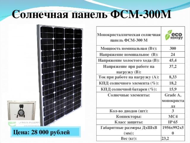Солнечная панель ФСМ-300М  Монокристаллическая солнечная панель ФСМ-300 М   Мощность номинальная (Вт): 300 Напряжение номинальное ( В): 24 Напряжение холостого хода (В): 45,4 Напряжение при работе на нагрузку (В): 37,2 Ток при работе на нагрузку (А): 8,33 КПД солнечного элемента (%): КПД солнечной батареи (%): 18,2 15,9 Солнечные элементы: Grade A, монокристалл Кол-во диодов (шт): 3 Коннекторы: MC4 Класс защиты: IP 65 Габаритные размеры ДхШхВ (мм): 1956х992х50 Вес (кг): 23,2 Цена: 28 00 0 рублей
