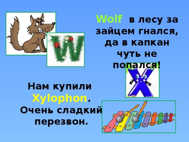 Wolf в лесу за зайцем гнался, да в капкан чуть не попался! Нам купили Xylophon . Очень сладкий перезвон.