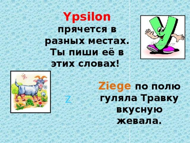 Ypsilon прячется в разных местах. Ты пиши её в этих словах! Ziege по полю гуляла Травку вкусную жевала.  Z