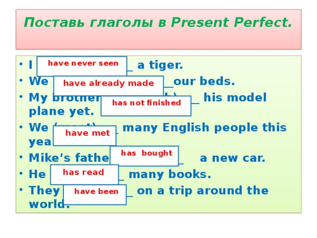Поставь глаголы в Present Perfect.   I (never see) ___ a tiger. We (already make) ___our beds. My brother (not finish) ___ his model plane yet. We (meet) ___ many English people this year. Mike's father (buy) ___ a new car. He (read) ___ many books. They (be) ___ on a trip around the world.  have never seen  have already made  has not finished  have met  has bought  has read  have been