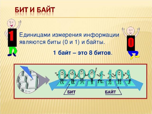 Единицами измерения информации являются биты (0 и 1) и байты. 1 байт – это 8 битов .