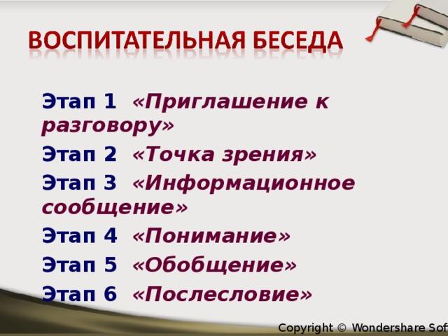 Этап 1 «Приглашение к разговору» Этап 2 «Точка зрения» Этап 3 «Информационное сообщение» Этап 4 «Понимание» Этап 5 «Обобщение»  Этап 6 «Послесловие»