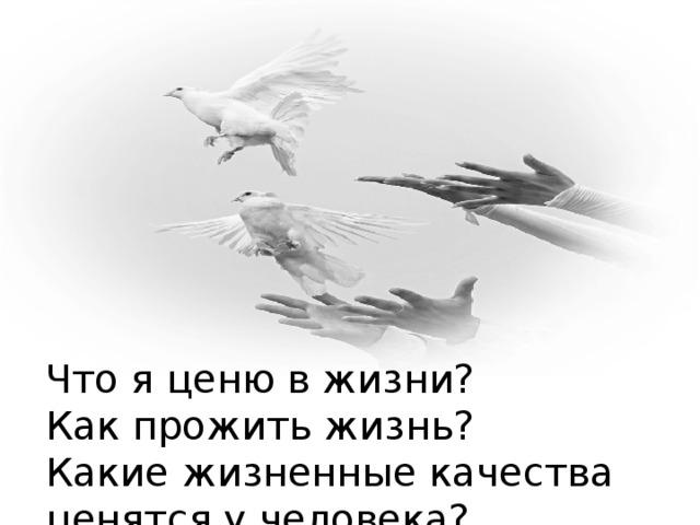 Что я ценю в жизни?  Как прожить жизнь?  Какие жизненные качества ценятся у человека?