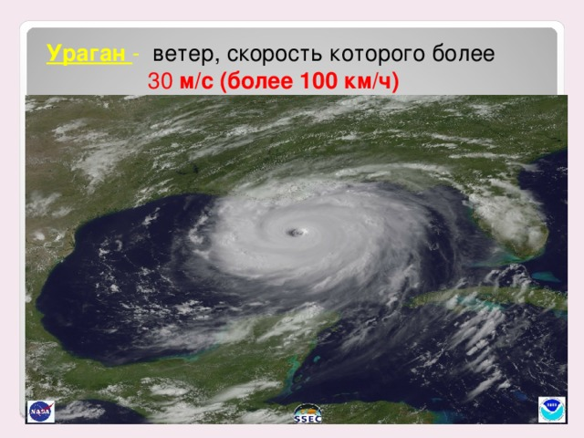 Ураган - ветер, скорость которого более  30 м/с (более 100 км/ч)