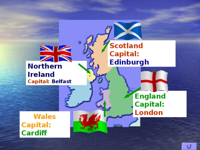 Scotland Capital: Edinburgh Northern Ireland Capital: Belfast England Capital: London Wales Capital: Cardiff