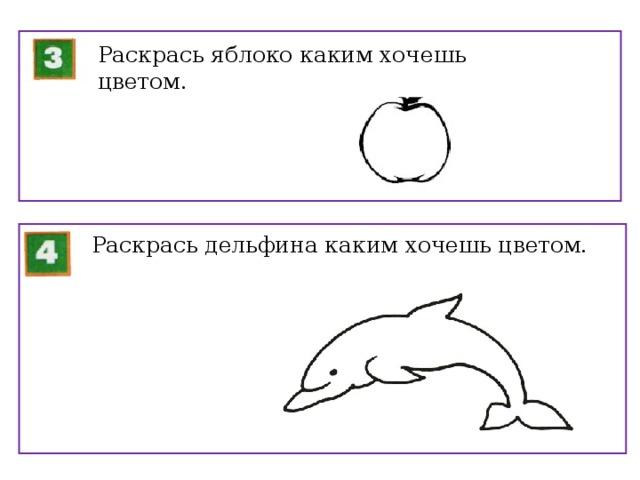Раскрась яблоко каким хочешь цветом. Раскрась дельфина каким хочешь цветом.