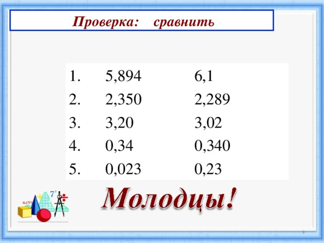 Проверка: сравнить  5,894 6,1  2,350  2,289  3 , 20 3,02  0,34  0,340  0,023  0,23  3 3
